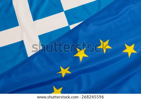 Close up of flags of European Union and Greece - stock photo
