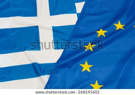 Close up of flags of European Union and Greece