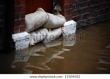 Close-up of flood defences in doorway of house