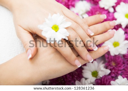 Close-up of flowers with french manicured fingers at spa center - stock photo