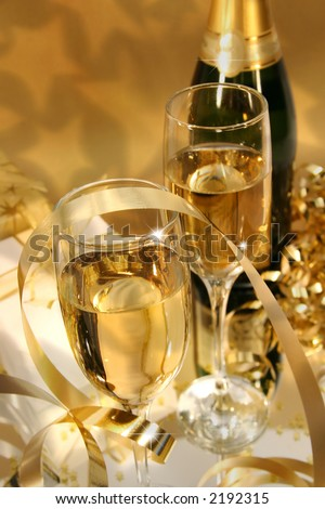 Close-up of fluted champagne glass ready for celebrating - stock photo