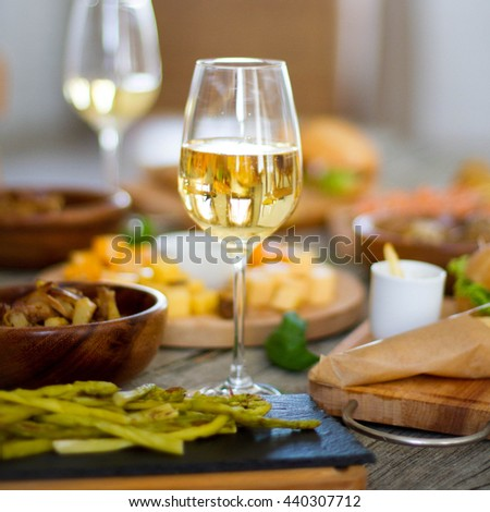 close up of  food and wine