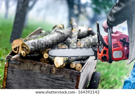 Close up of forest worker, lumberjack with chainsaw against logs and foggy forest background - stock photo