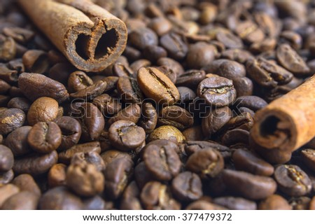 Close up of fragnant cinnamon sticks with coffee beans as background. Selective focus. - stock photo