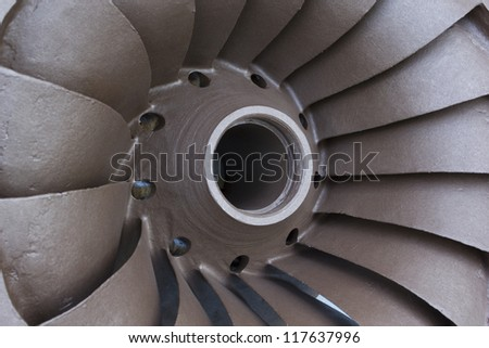 Close up of Francis type hydro electric turbine blades. - stock photo