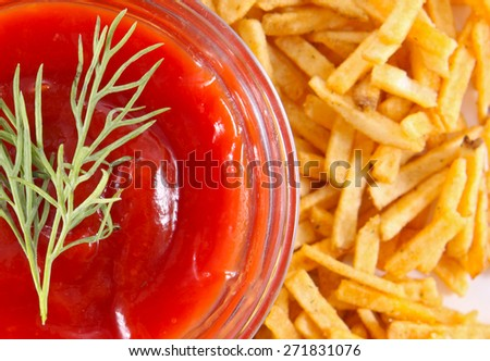 close up of french fries and ketchup  - stock photo