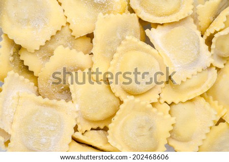 Close up of fresh and tasty italian pasta, agnolotti - stock photo