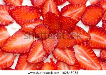 close up of fresh and tasty strawberry cake - stock photo