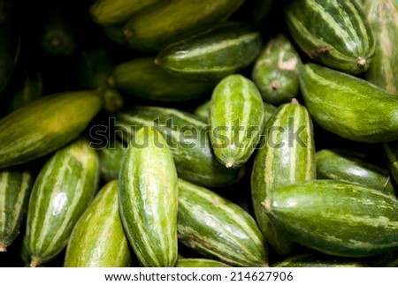 Close-up of fresh cucumbers in grocery store