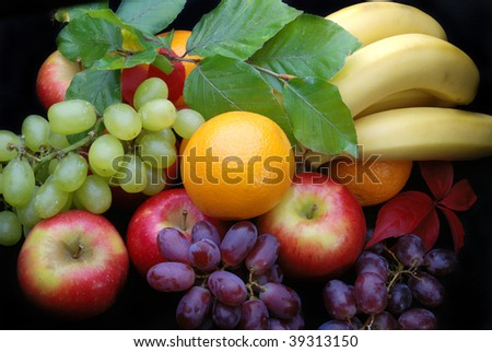 Close up of Fresh fruit on a black background