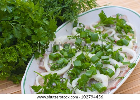 Close-up of fresh herring fillets with herbs - stock photo