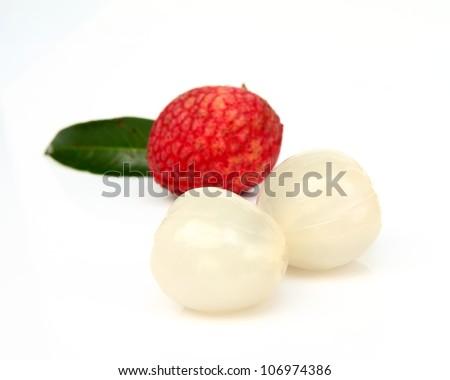 Close up of fresh litchi fruit isolated on white background - stock photo