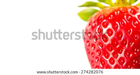 Close up of fresh strawberry isolated on white