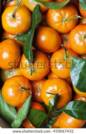 Close up of fresh tangerines heap, background