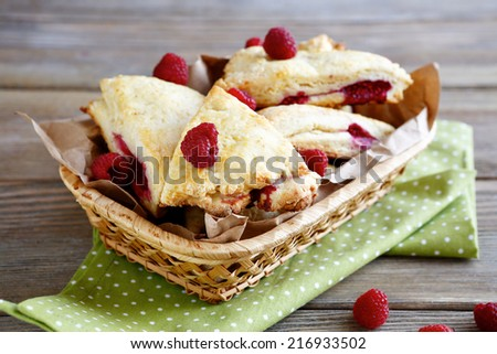 Close up of freshly baked  scones at the breakfast , food closeup - stock photo