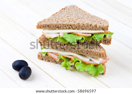 Close up of freshly made sandwich with dietetic bread