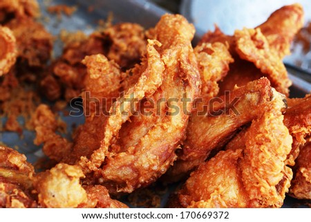 Close up of fried chicken - stock photo