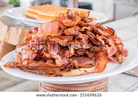 close up of fried crispy bacon - stock photo