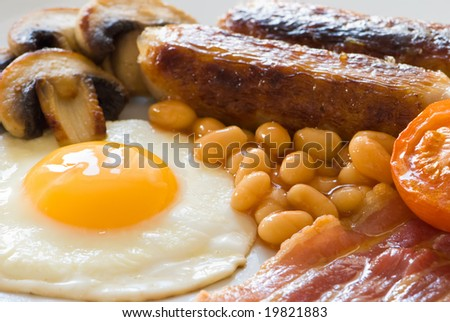 Close up of fried English breakfast - stock photo