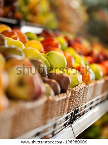 Close up of fruits in the market. Concept of healthy food - stock photo
