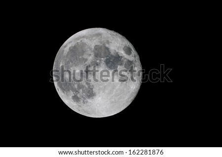 Close up of full moon in October 2013 against a black background