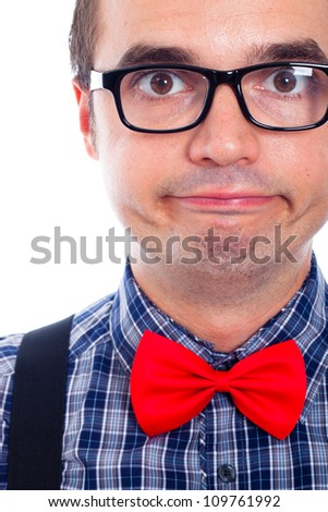 Close up of funny nerd man face.