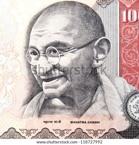 Close up of gandhi on Indian currency - stock photo