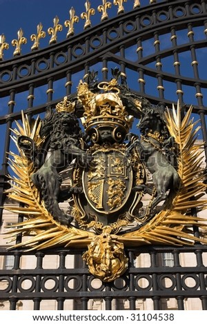 Close up of gate at Buckingham Palace - stock photo