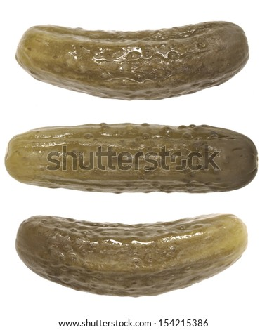 close up of gherkins isolated on white - stock photo
