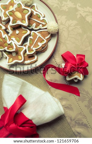 Close-up of gingerbread cookies on the plate - stock photo