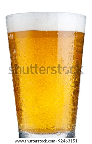 Close up of glass of beer - stock photo