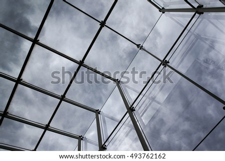 Close up of glass roof on a modern building