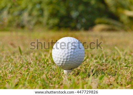 Close up of golf ball on a tee  at sunrise on frosty morning.