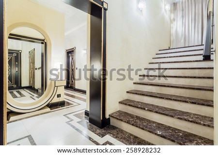 Close-up of granitic stairs in luxury residence - stock photo