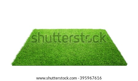 Close up of grass carpet isolated on white background with copy space - stock photo