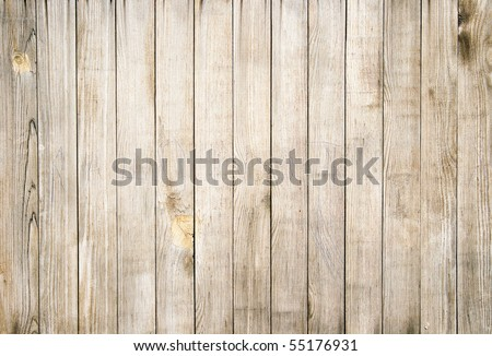 Close up of gray wooden fence panels - stock photo