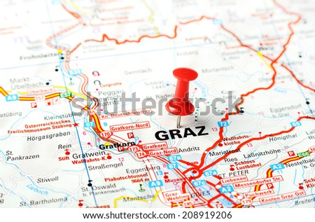 Close up of Graz , Austria  map with red pin    - Travel concept - stock photo