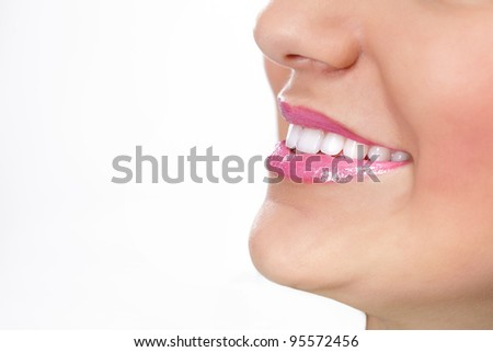 Close up of great smiling with perfect healthy teeth - stock photo