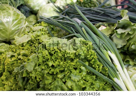 close up of green onions, Lettuce, cabbage on market stand