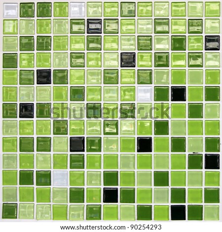 Close up of green tiled wall for background - stock photo