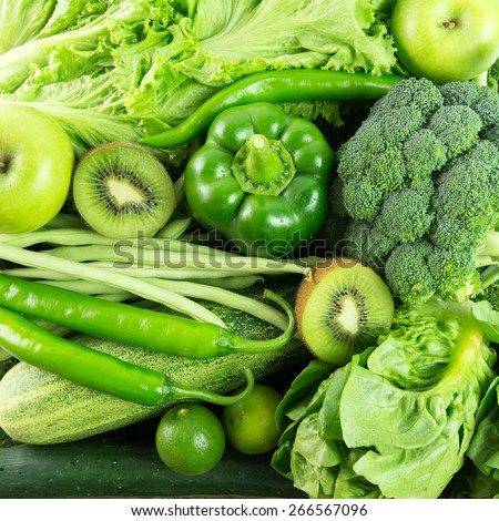 Close up of green vegetables and fruits for background - stock photo