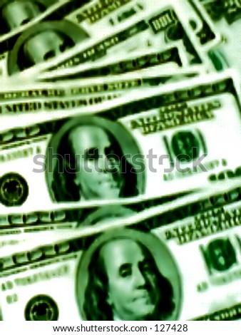 Close up of Greenbacks - stock photo