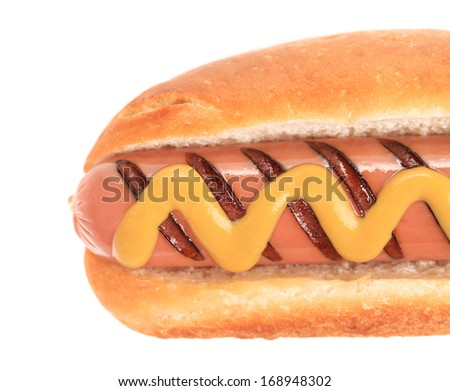 Close up of grilled hotdog with mustard. Whole background.