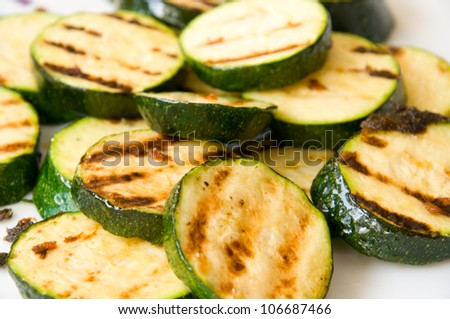 close up of grilled marrows - stock photo