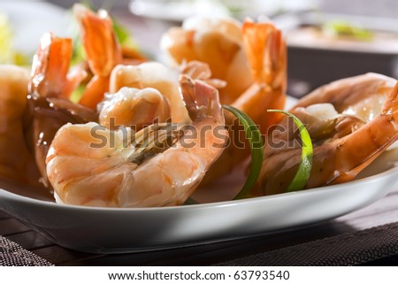 close-up of grilled shrimps, without heads - stock photo