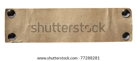 close up of grunge note paper on white background with clipping path - stock photo