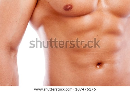 Close-up of guy muscular torso  - stock photo