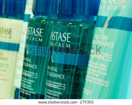 Close up of haircare products - stock photo