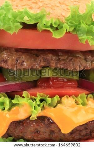 Close up of hamburger layers. Whole background. - stock photo