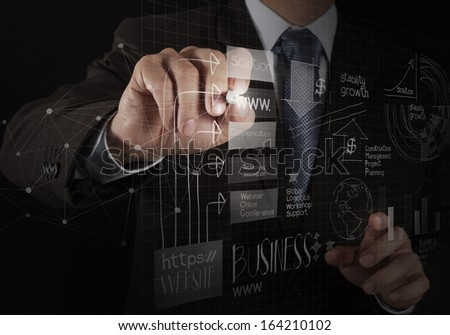 close up of hand drawing  business strategy as concept - stock photo